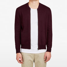 BURGUNDY KNITTED BOMBER  BURGANDY  hi-res