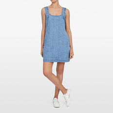 PINAFORE DENIM DRESS  STONE WASH  hi-res
