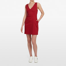 RED DENIM V NECK DRESS  RED  hi-res