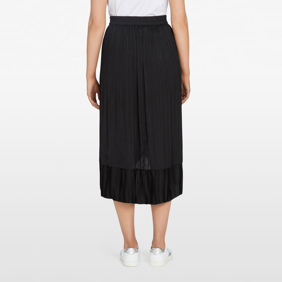 MIDI PLEATED RUFFLE SKIRT  BLACK  hi-res