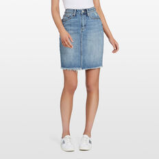 DENIM FRAYED SKIRT  STONE WASH  hi-res