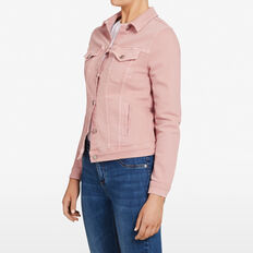 ANTIQUE DYE STRETCH DENIM JACKET  PASTEL PINK  hi-res