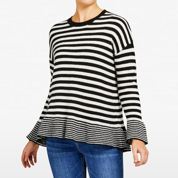 VARIGATED PEPLUM STRIPE KNIT  BLACK/SUMMER WHITE  hi-res