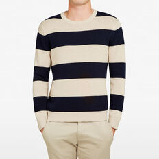 STRIPE CREW NECK KNIT  OATMEAL/MARINE BLUE  hi-res