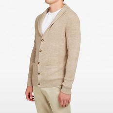 OATMEAL SHAWL NECK CARDIGAN  OATMEAL  hi-res