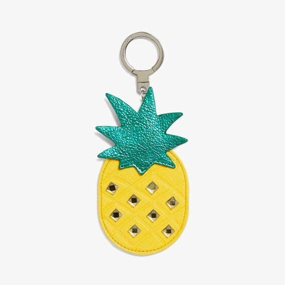 PINEAPPLE EMBELLISHED KEYRING  YELLOW MULTI  hi-res