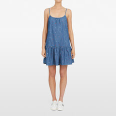 DENIM  SPOT FRILL DRESS  STONE WASH/MULTI  hi-res