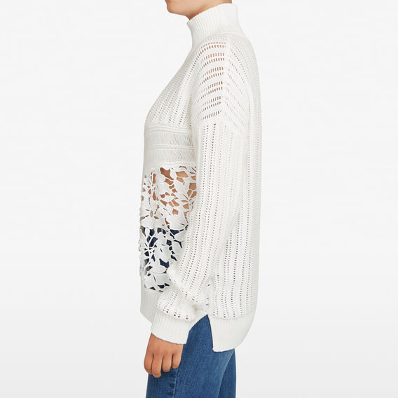 LACE SPLICED HIGH NECK KNIT  SUMMER WHITE  hi-res