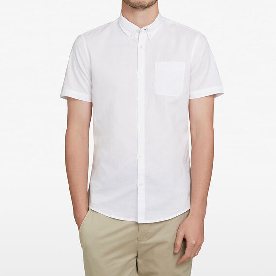 SHORT SLEEVE OXFORD CUSTOM FIT SHIRT  WHITE  hi-res
