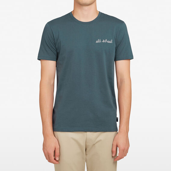OLD SCHOOL EMBROIDERED T-SHIRT  PETROL  hi-res