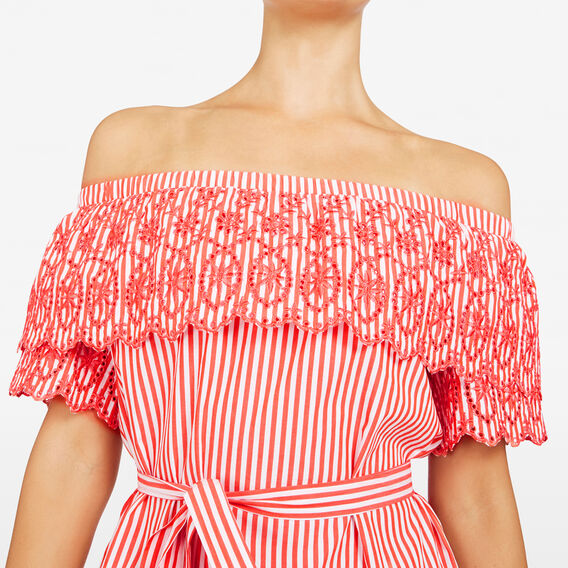 BRODERIE STRIPE OFF SHOULDER DRESS  SUMMER WHITE/RED  hi-res