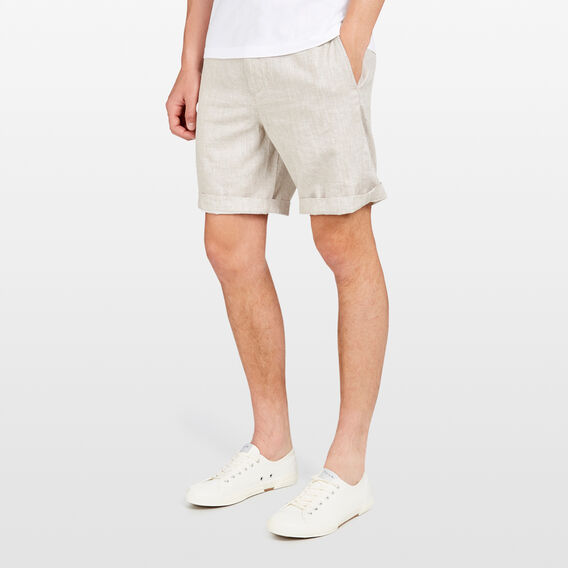 SOUTH BEACH  LINEN BLEND SHORT  OATMEAL  hi-res