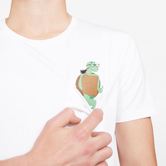 CHEEKY TORTOISE POCKET CREW NECK T-SHIRT  WHITE  hi-res