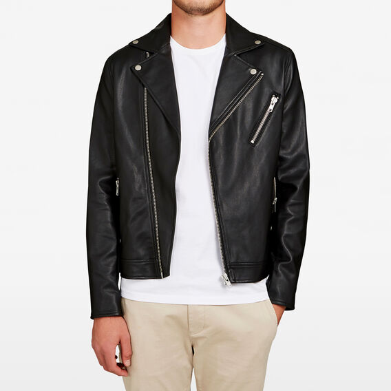 LEATHER LOOK BIKER JACKET  BLACK  hi-res