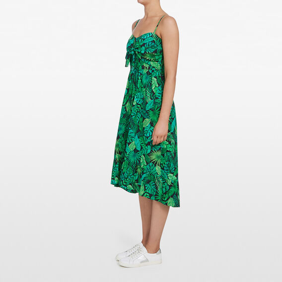 LEAF PRINT BUSTIER DRESS  MULTI  hi-res