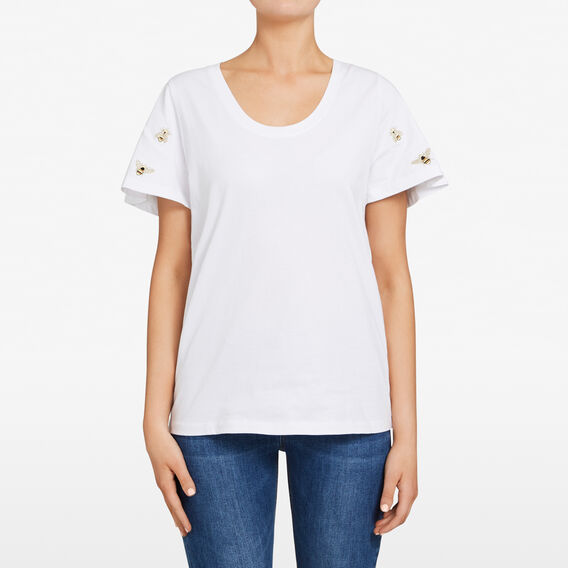 EMBROIDERED BEE TEE  SUMMER WHITE/GOLD  hi-res