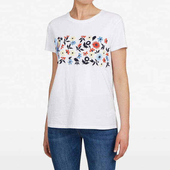 EMBROIDERED FLOWER TEE  SUMMER WHITE/MULTI  hi-res