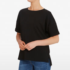 TEXTURED RELAXED TEE  BLACK  hi-res