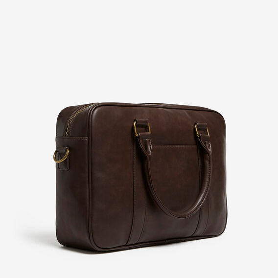 LEATHER LOOK SOFT BRIEFCASE  CHOCOLATE  hi-res