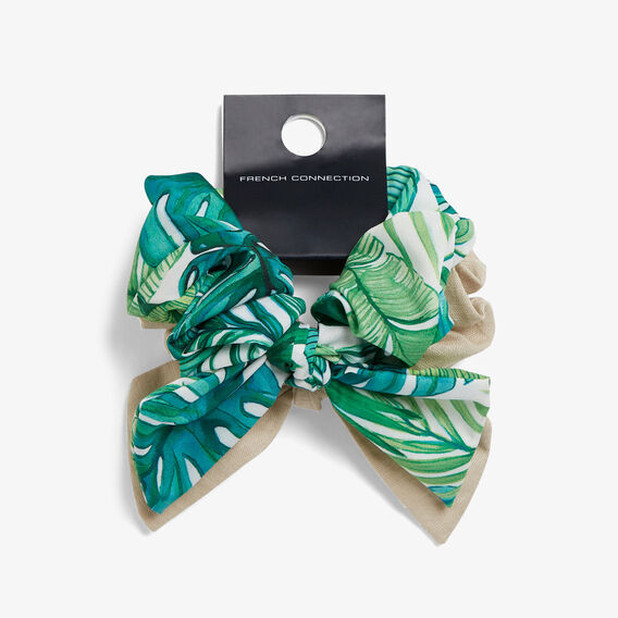 LEAF PRINT SCRUNCHIE SET  MULTI  hi-res