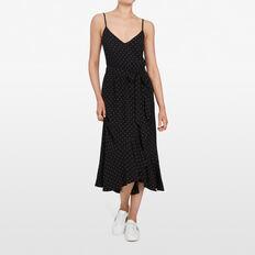 MICRO SPOT WRAP DRESS  BLACK/SUMMER WHITE  hi-res