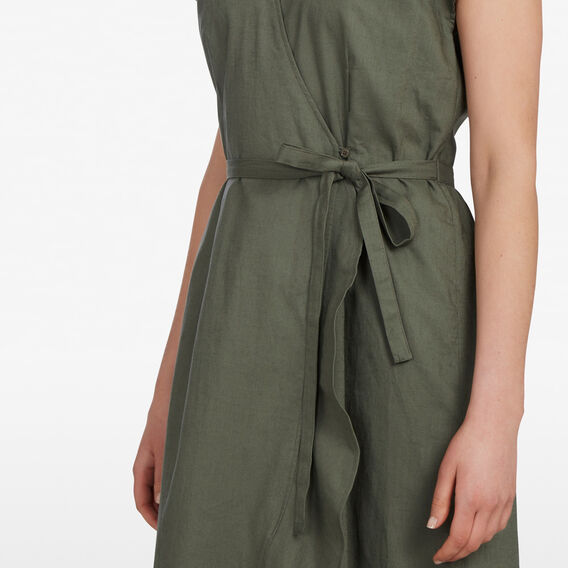 LINEN WRAP DRESS  KHAKI  hi-res