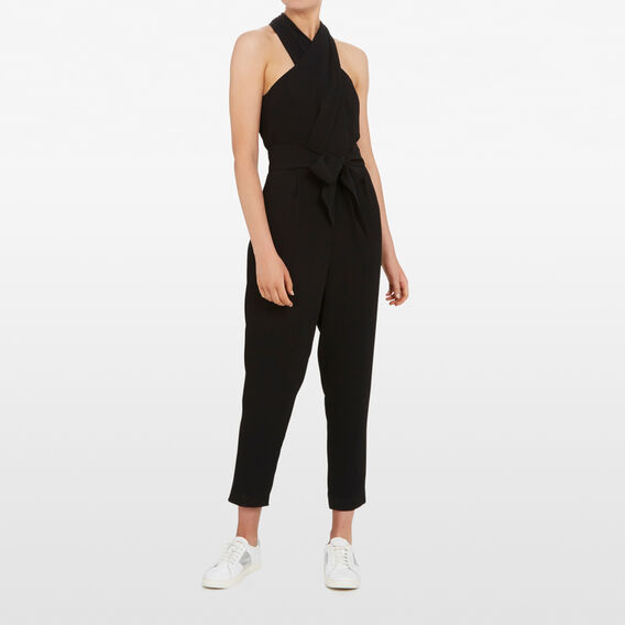 HALTER NECK JUMPSUIT  BLACK  hi-res