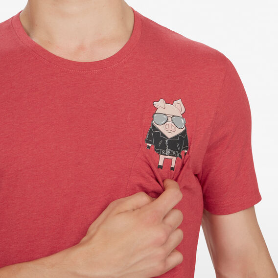 BIKER PIG T-SHIRT  RED MARL  hi-res