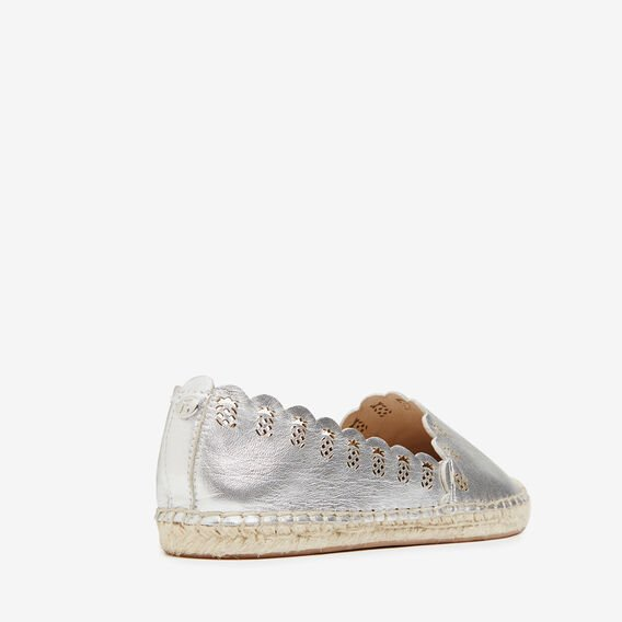 PINEAPPLE LEATHER ESPADRILLES  SILVER  hi-res