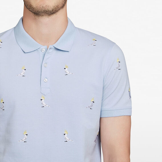 COCKATOO EMBROIDERED POLO  PALE BLUE  hi-res