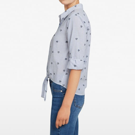 PINSTRIPE HEART TIE FRONT SHIRT  CHAMBRAY/SUMMER WHIT  hi-res