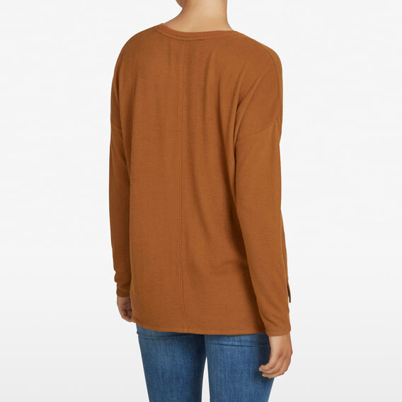 FLUFFY CREW NECK TEE  DARK TAN  hi-res