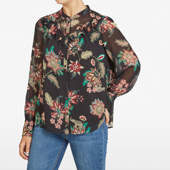 JUNGLE FLORAL RUFFLE SHIRT  BLACK/MULTI  hi-res