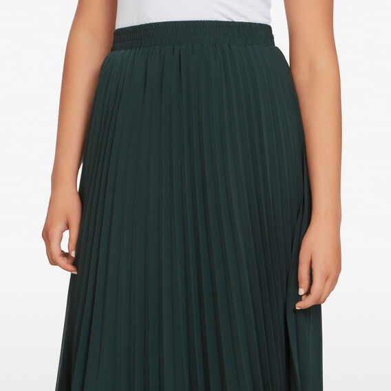PLEATED MIDI SKIRT  FOREST GREEN  hi-res