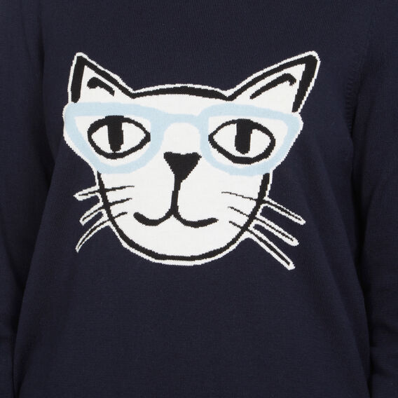 FUN CAT INTARSIA KNIT  NAVY/MULTI  hi-res