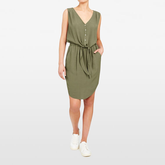 KNOT FRONT DRESS  KHAKI  hi-res