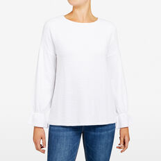 ELLEN TEXTURED BELL SLEEVE TEE  SUMMER WHITE  hi-res