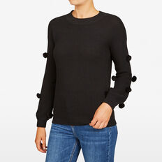 POM POM SLEEVE KNIT  BLACK  hi-res