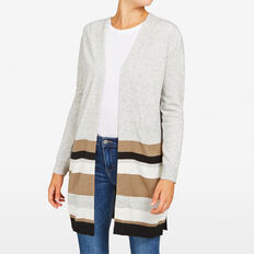 STRIPE VARSITY CARDIGAN  GREY MARLE/BLACK/SUM  hi-res