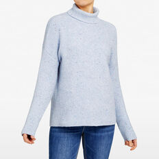 VHARI RIB ROLL NECK  BLUE MARLE  hi-res