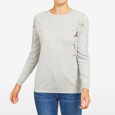 FLORAL APPLIQUE KNIT  GREY MARLE  hi-res