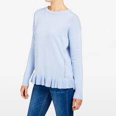 SPECKLE RUFFLE HEM KNIT  PALE BLUE MARLE  hi-res