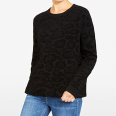 OCELOT ROLL NECK KNIT  BLACK MULTI  hi-res
