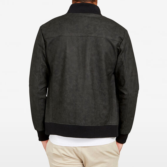 TEXTURED LEATHER LOOK BOMBER JACKET  BLACK  hi-res