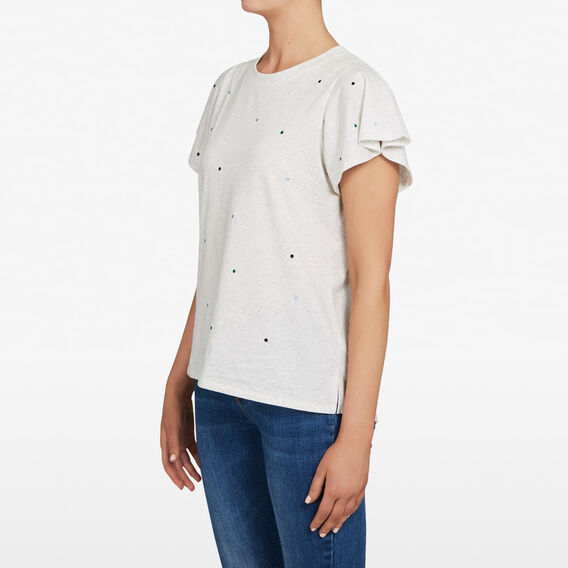 EMBROIDERED SPOT FLUTTER SLEEVE TEE  MULTI  hi-res