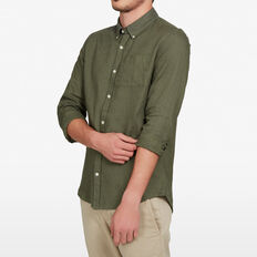 LINEN CLASSIC FIT SHIRT  PINE GREEN  hi-res