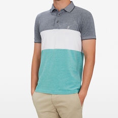 BLOCK STRIPE POLO  SPEARMINT/WHITE/BLUE  hi-res
