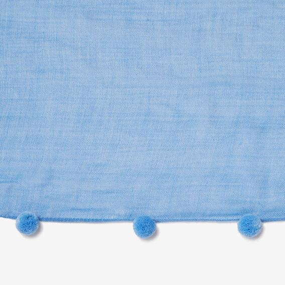 WOVEN POM POM SCARF  PALE BLUE/BLUE  hi-res