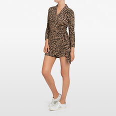 ANIMAL PRINT WRAP PLAYSUIT  BLACK/MULTI  hi-res