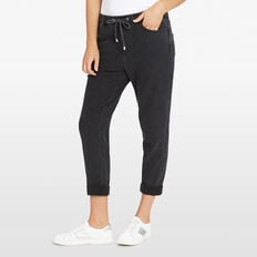 RELAXED DENIM JOGGER  BLACK  hi-res